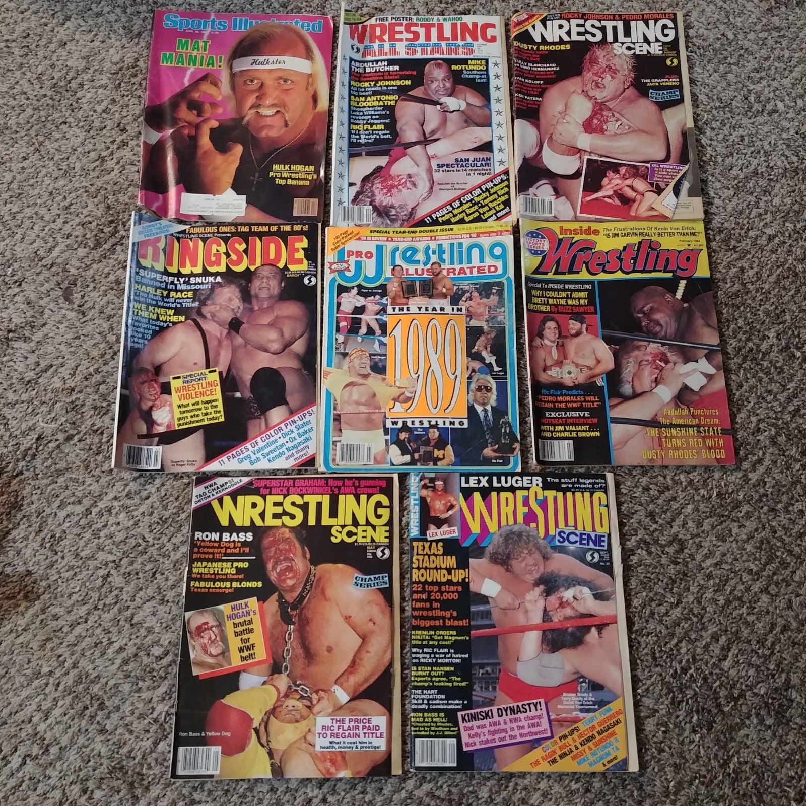 Vintage Wrestling Magazines x8 1984 - 90