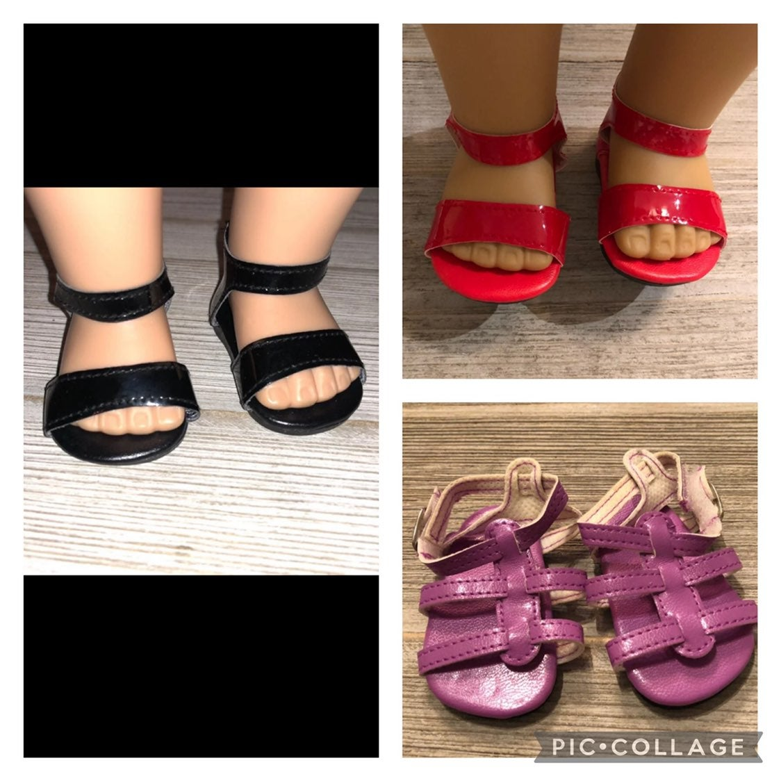 Doll sandals lot x3 pairs