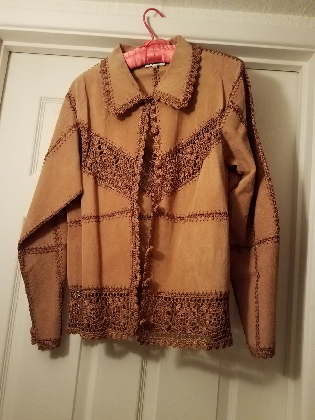 100% Suede Leather and Crochet Jacket