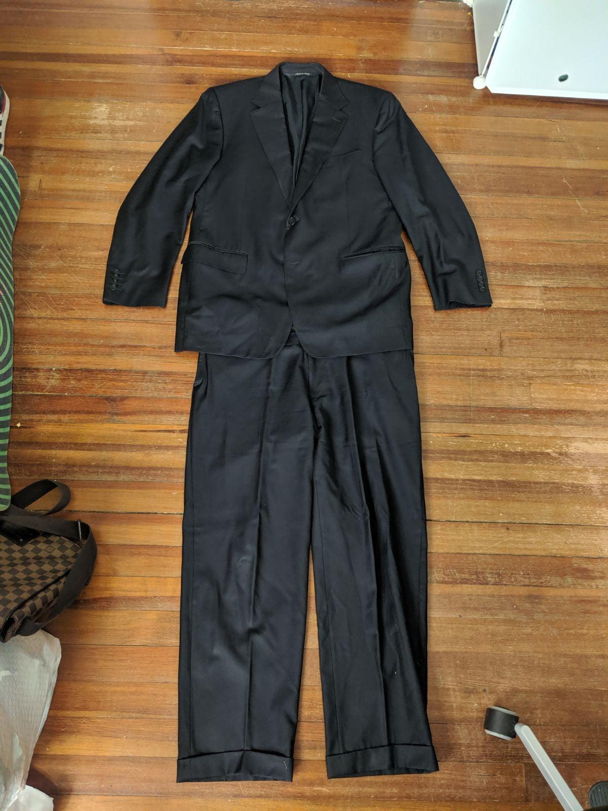 Canali black virgin wool 2pc suit