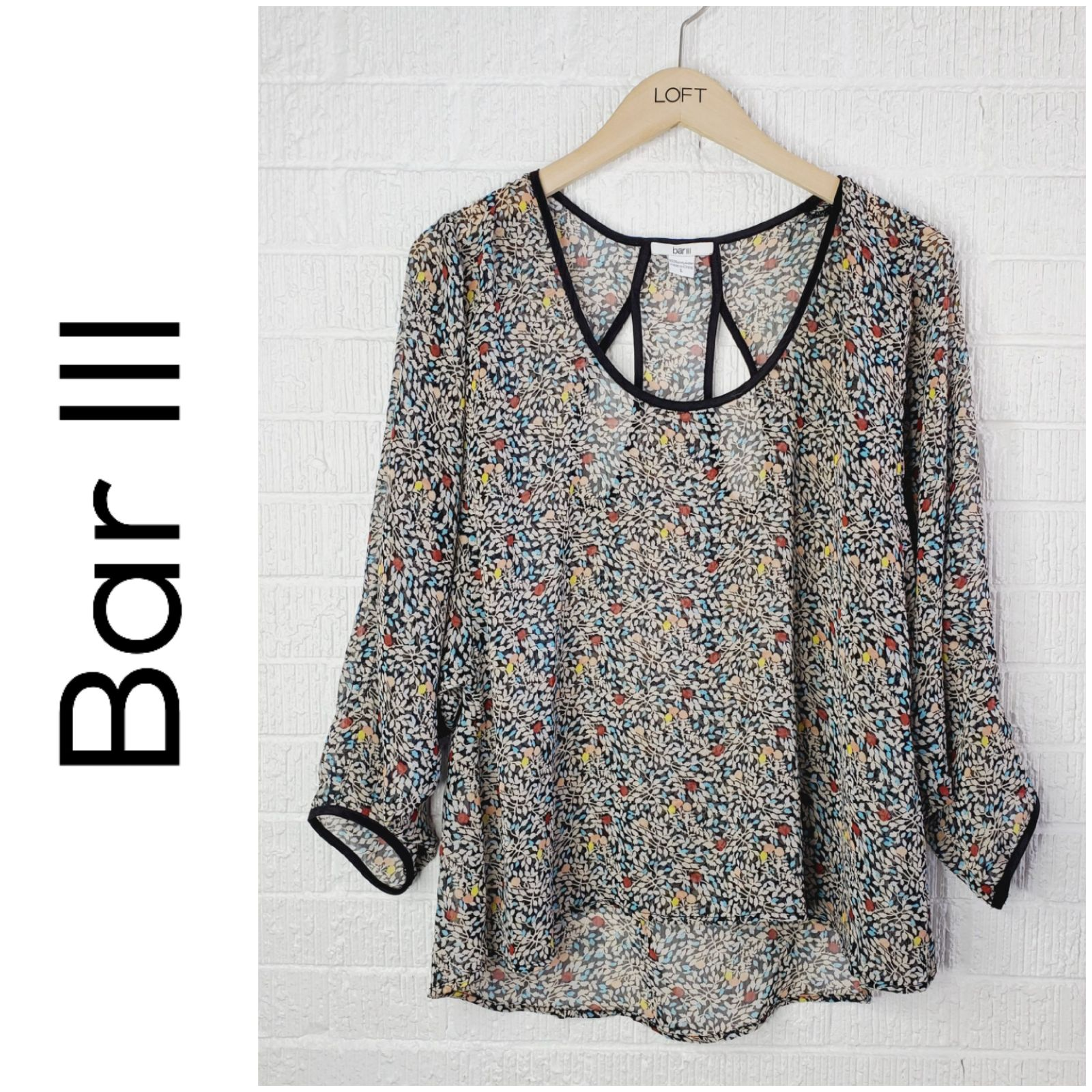 Sheer floral flowy blouse with cut out
