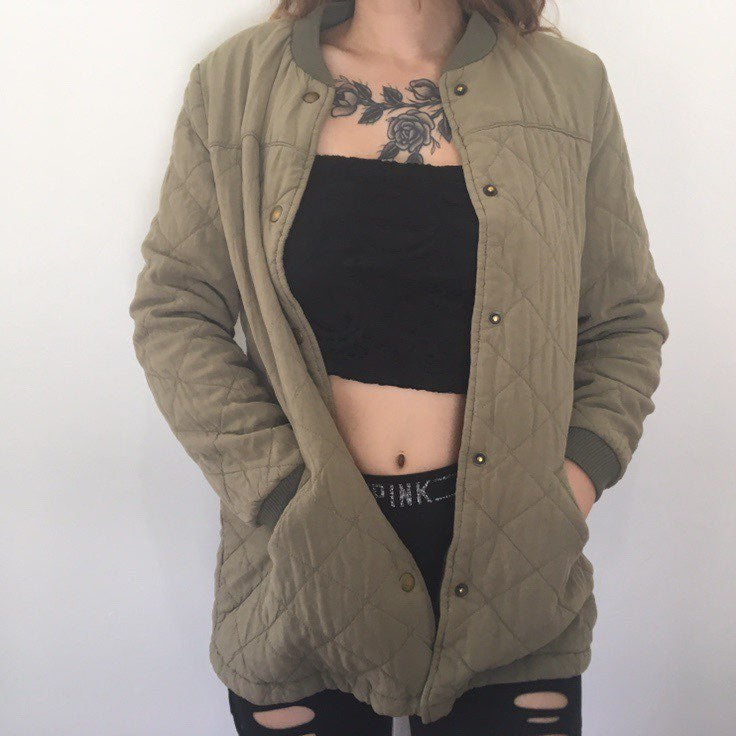 Old navy quilted army green Jacket
