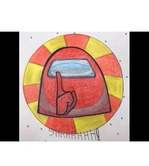 Among Us Color Pencil Drawing Handmade