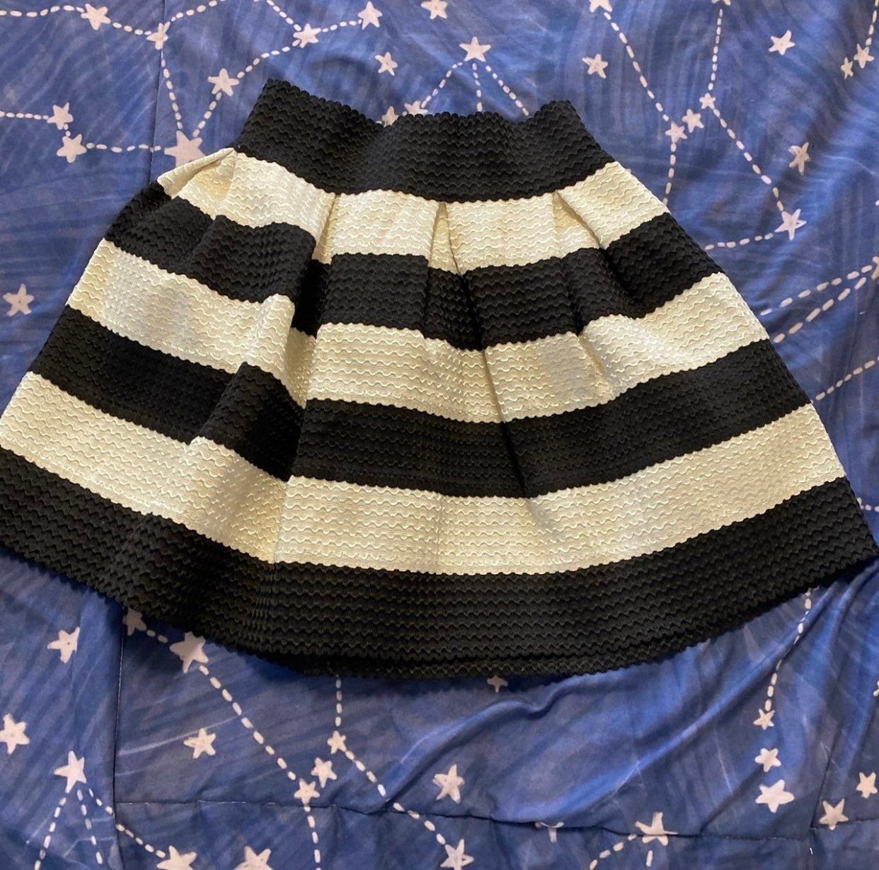 Black and white striped pleated skirt