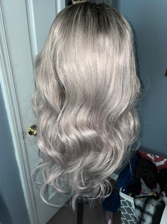 Platinum shadow roots wig human hair