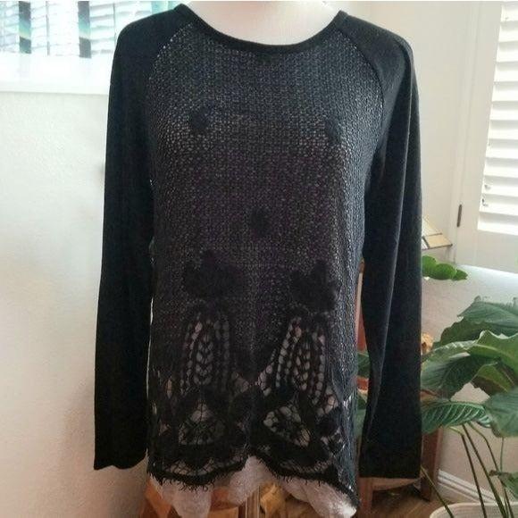 Democracy layered macrame knit tunic
