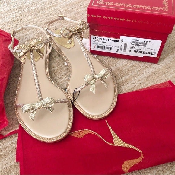 NWT$1190 Rene Caovilla Flat Sandals SZ35