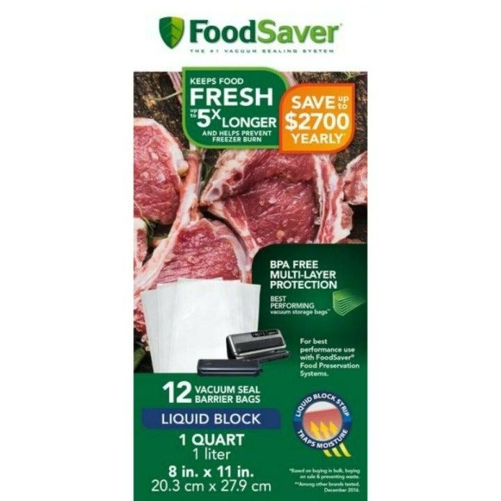 *New* FOODSAVER 12pc Piece HEAT-SEAL BARRIER BAGS Liquid Block BPA Free 950 mL