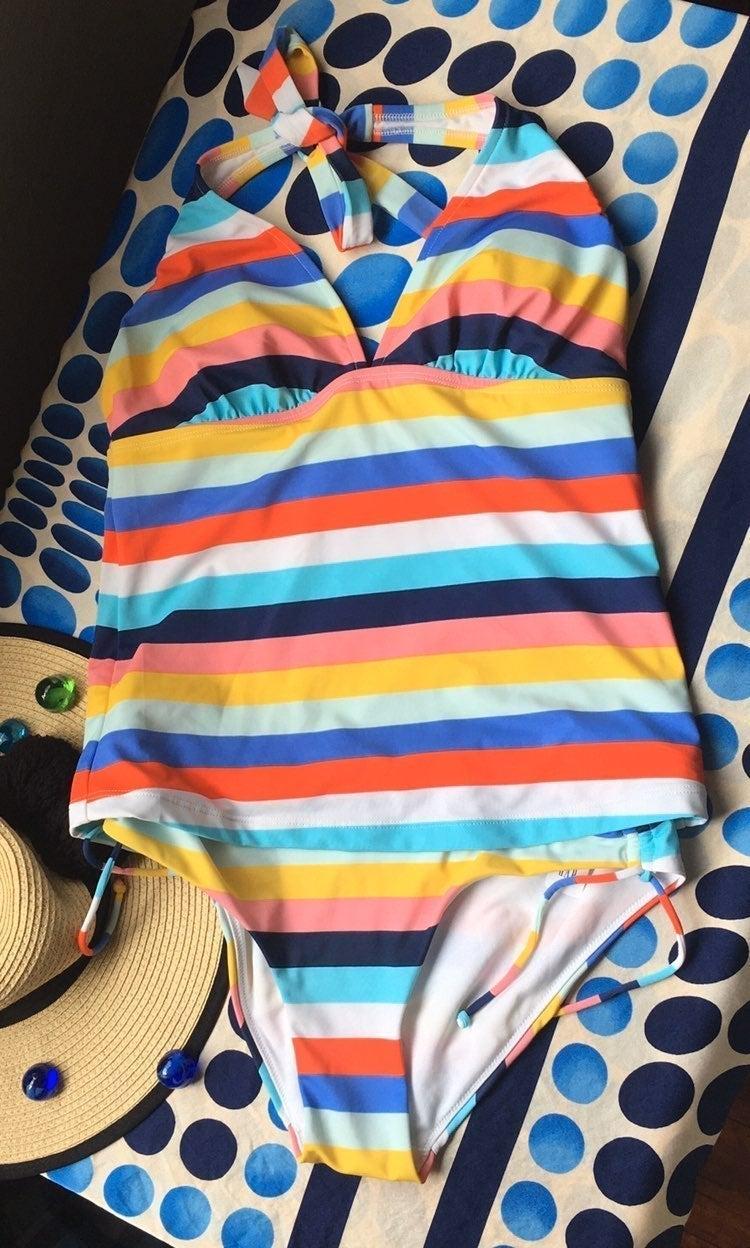 Gap Multi Stripe tankini top and bikini