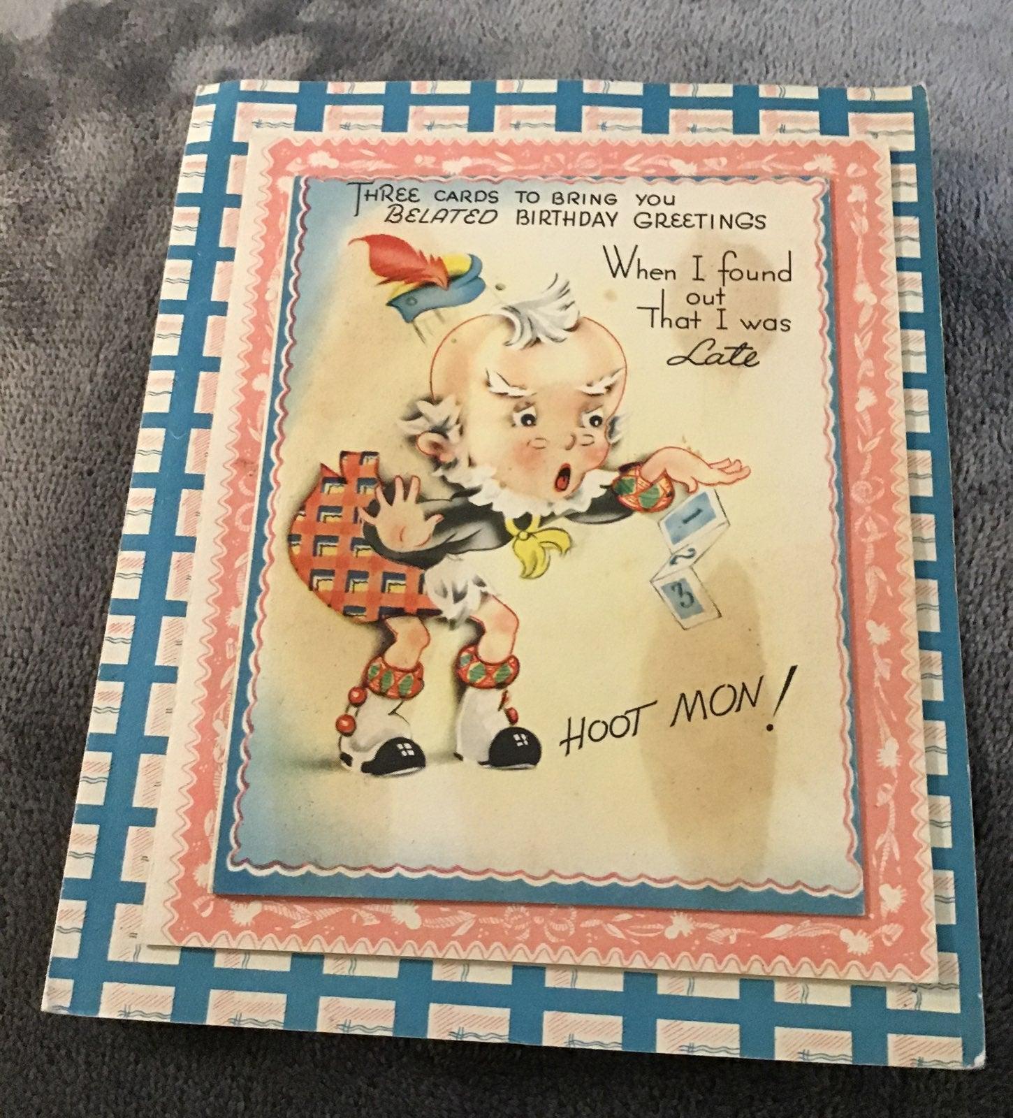 Card,greeting,RARE! Vintage Belated