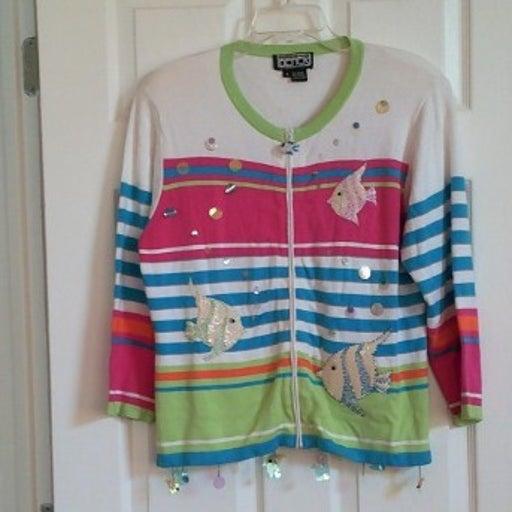 Berek Cardigan Sweater Fish Theme S