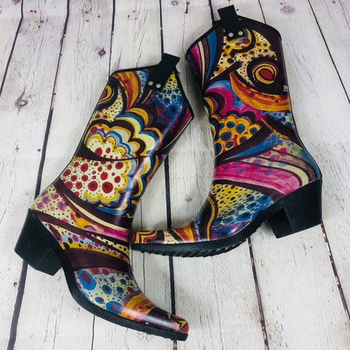Nomad Yippy Psychedelic Cowboy Rainboots