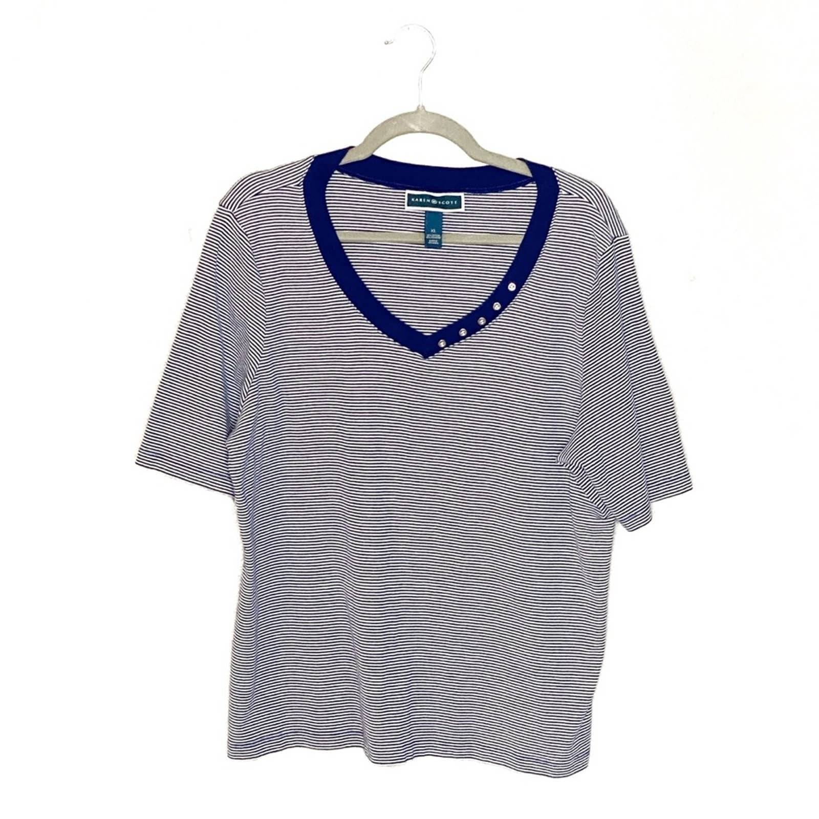 Karen Scott Blue Stripe Short Sleeve Top
