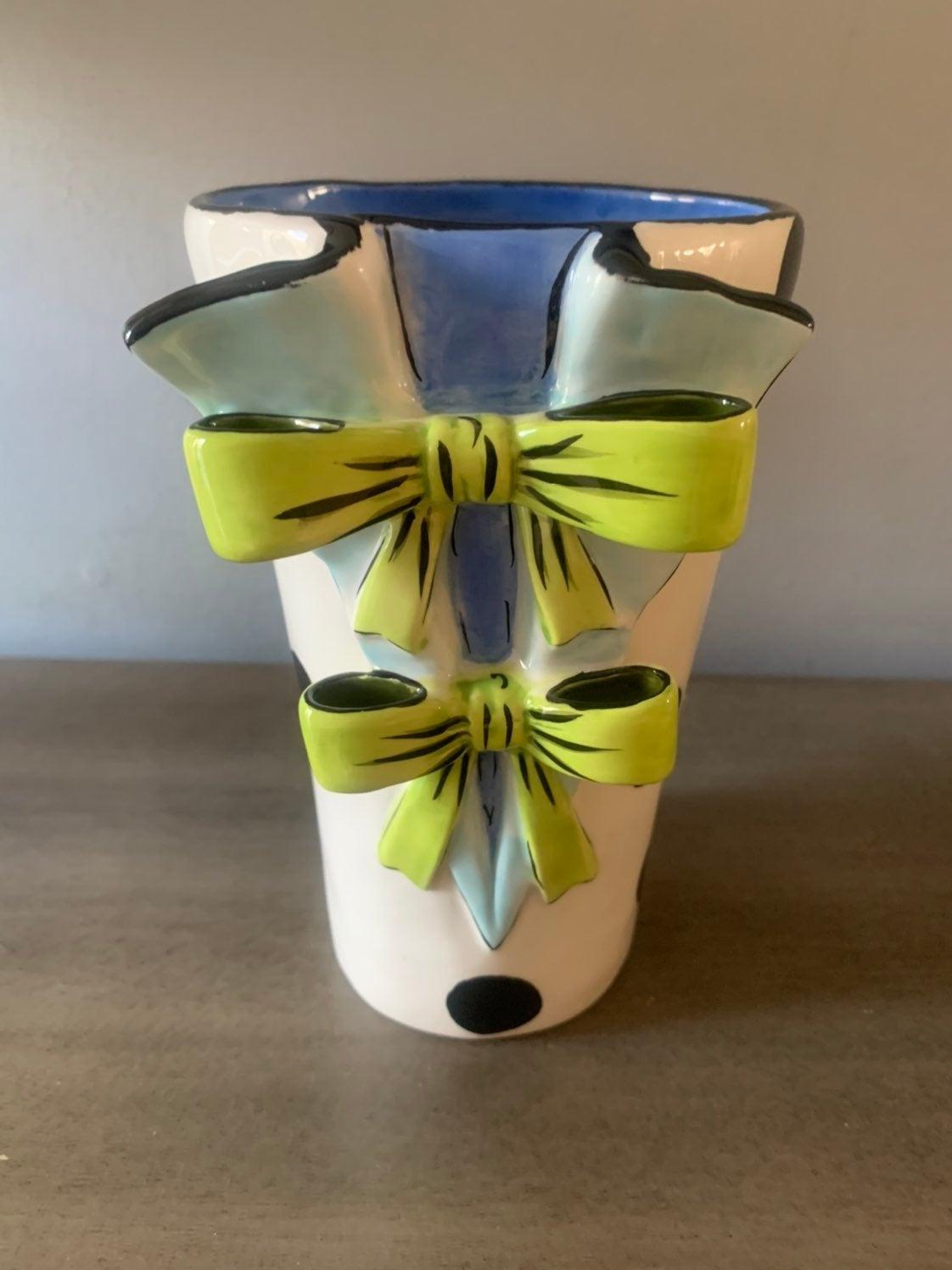 Brighton Ceramic Vase Bows and Polka Dot