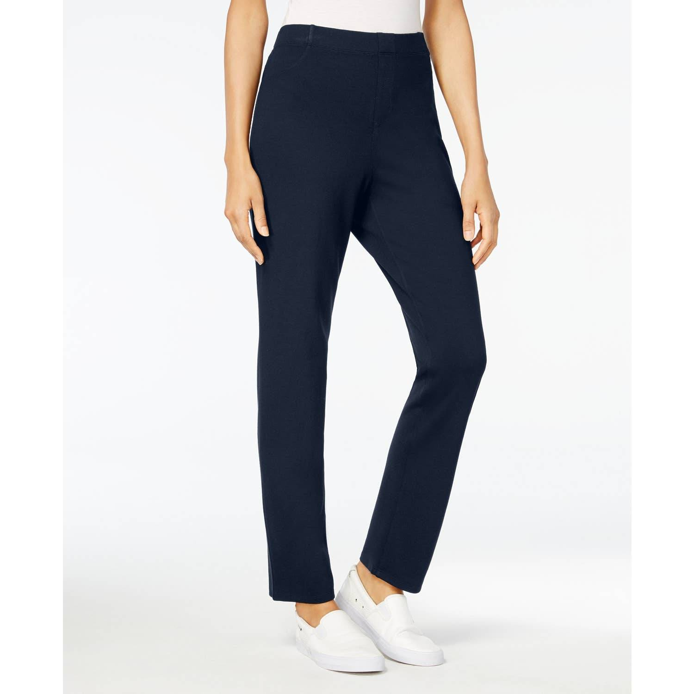 Karen Scott Sport Navy Blue Pull-on Pants High Rise Comfort Elastic Waist Sz M