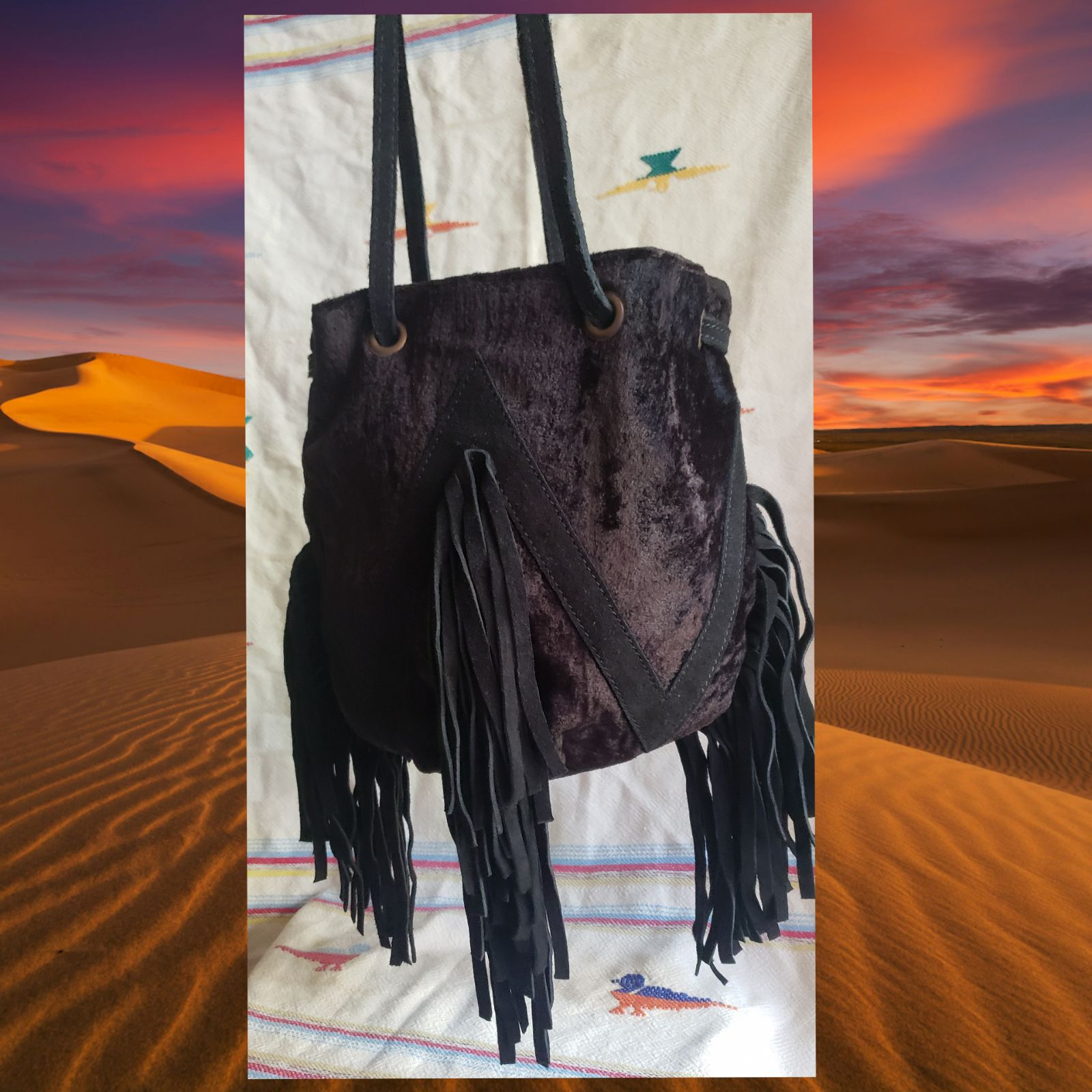 Black Velvet Fringe Bag
