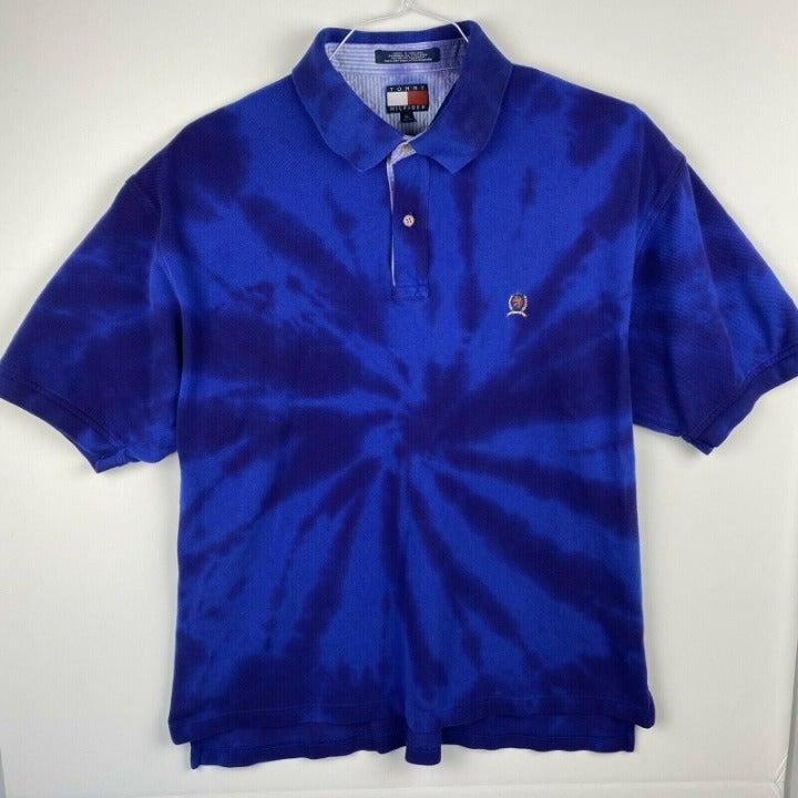 Tommy Hilfiger Mens XL Vtg Tie Dye Polo
