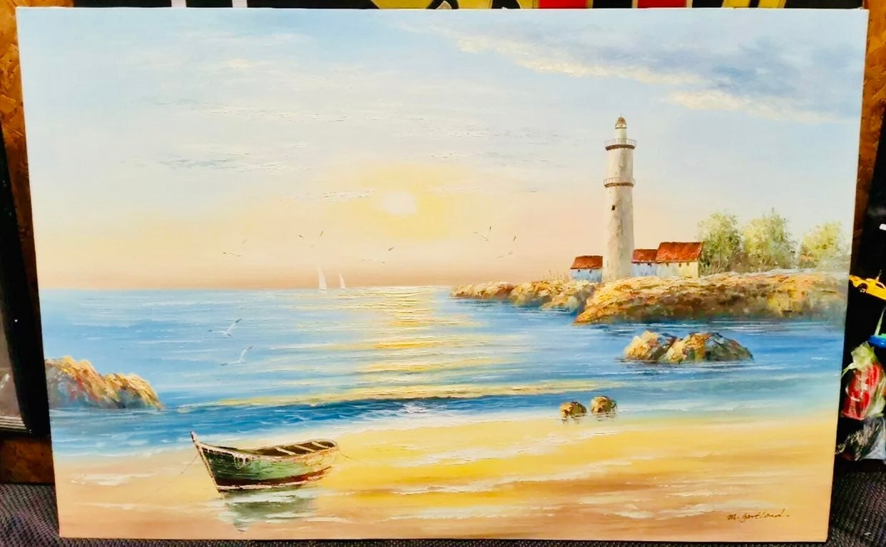 "36""x24"" LIGHTHOUSE Oil Painting Ocean"