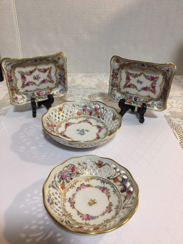 Dresden Reticulated bowls & Trinket Dish