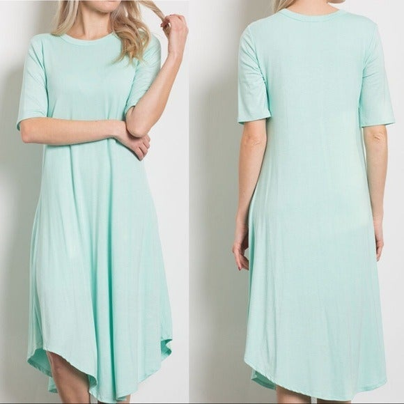 Mint Swing Midi T-Shirt Dress - Medium