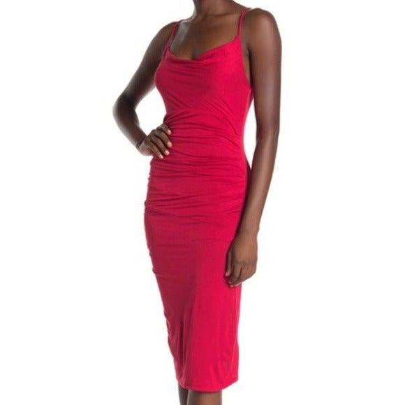 Velvet Torch Cowl Neck Ruched Midi Dress