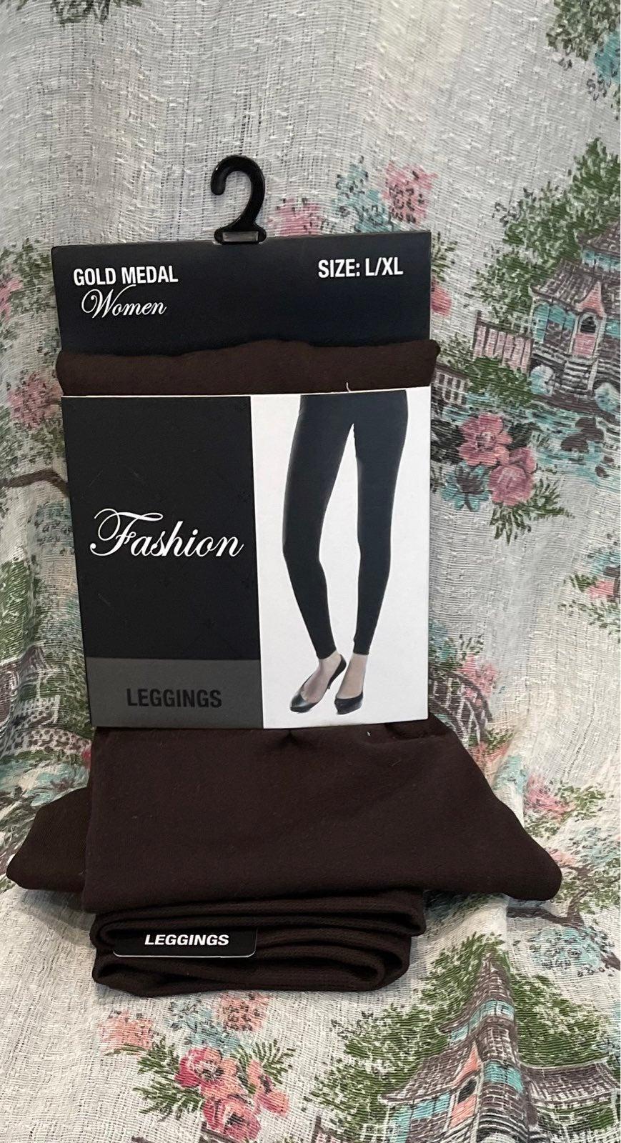 Women's Gold Metal Brown Leggings