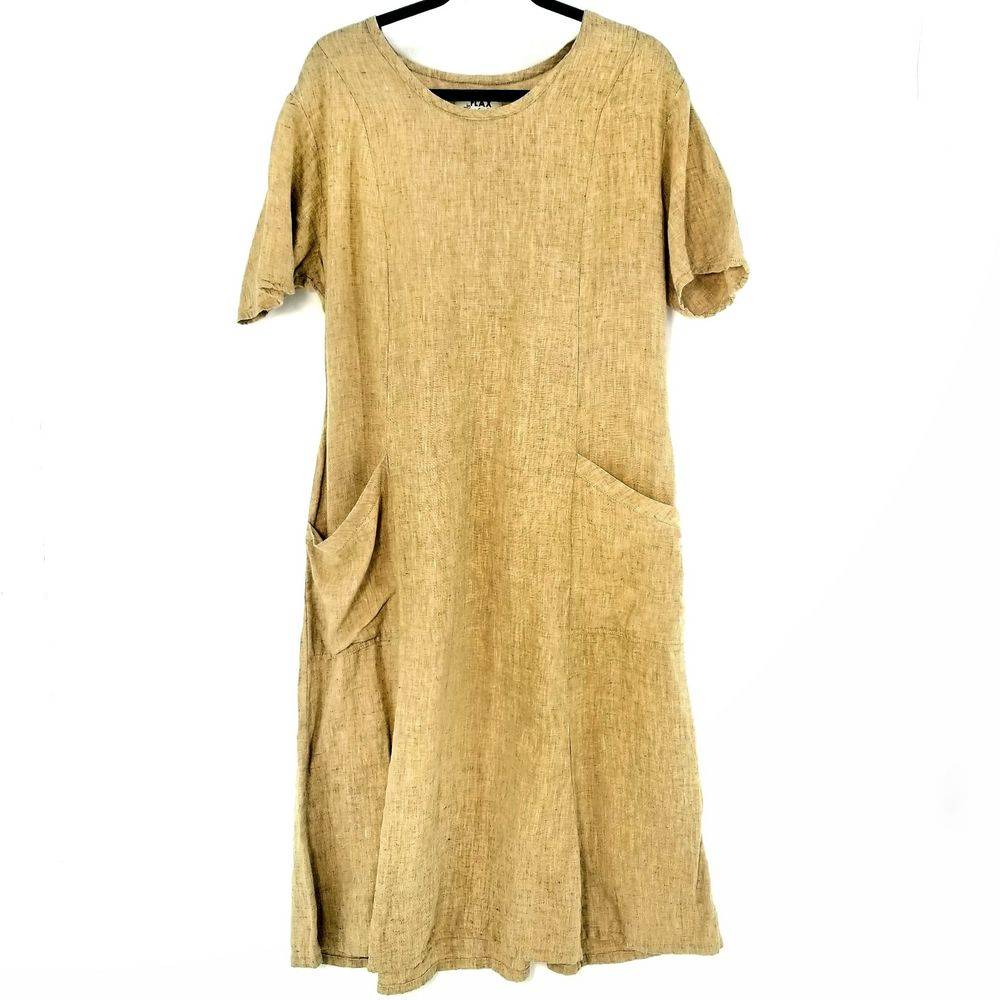 Flax Linen Cap Sleeve Midi Dress Sz L