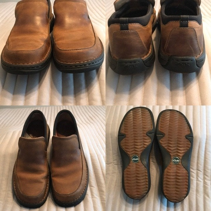 Clarks leather slip on shoes. Size 9.5