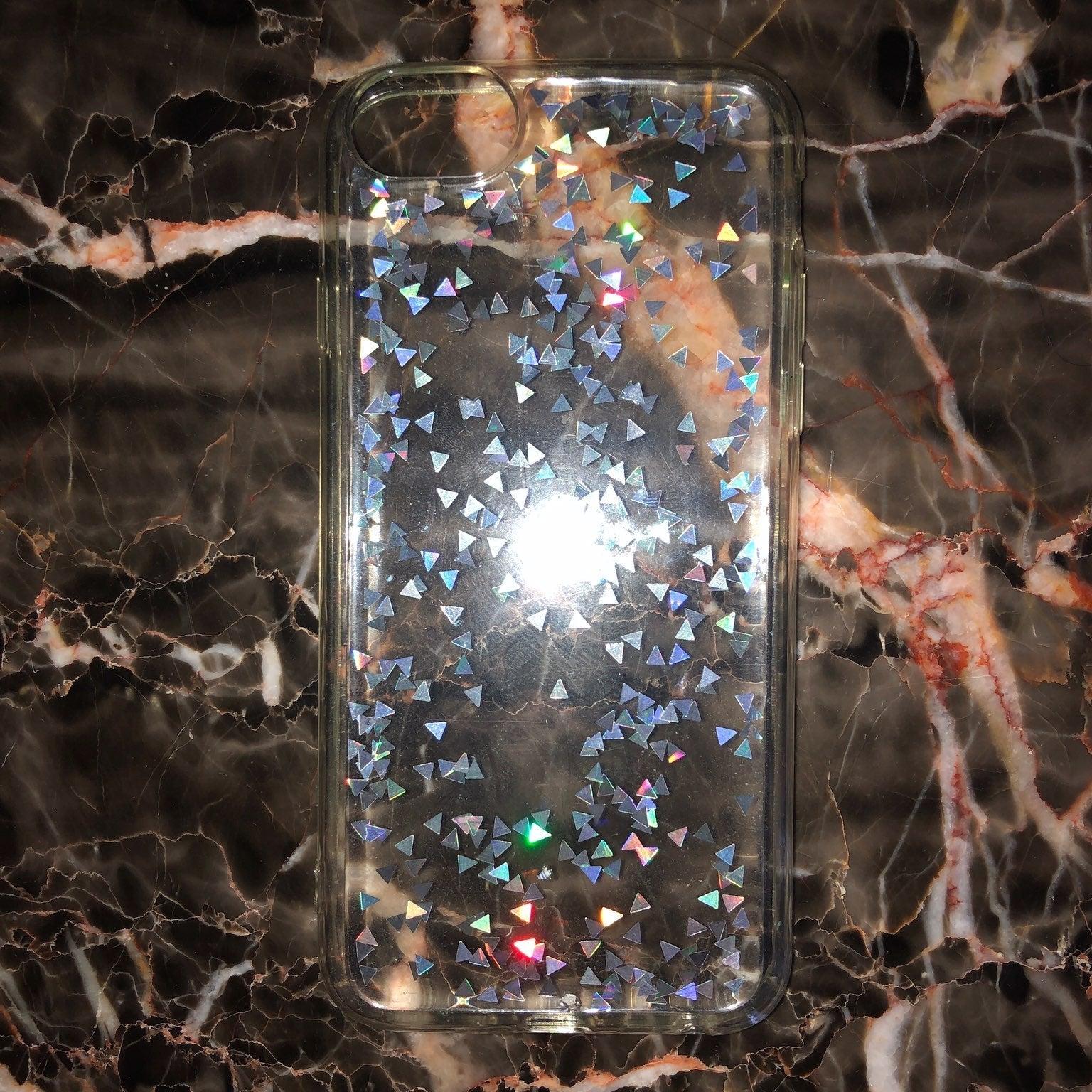 glittery clear iphone 6/7/8 case