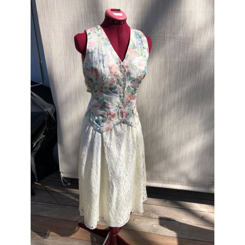 1990s vest dress with lace skirt