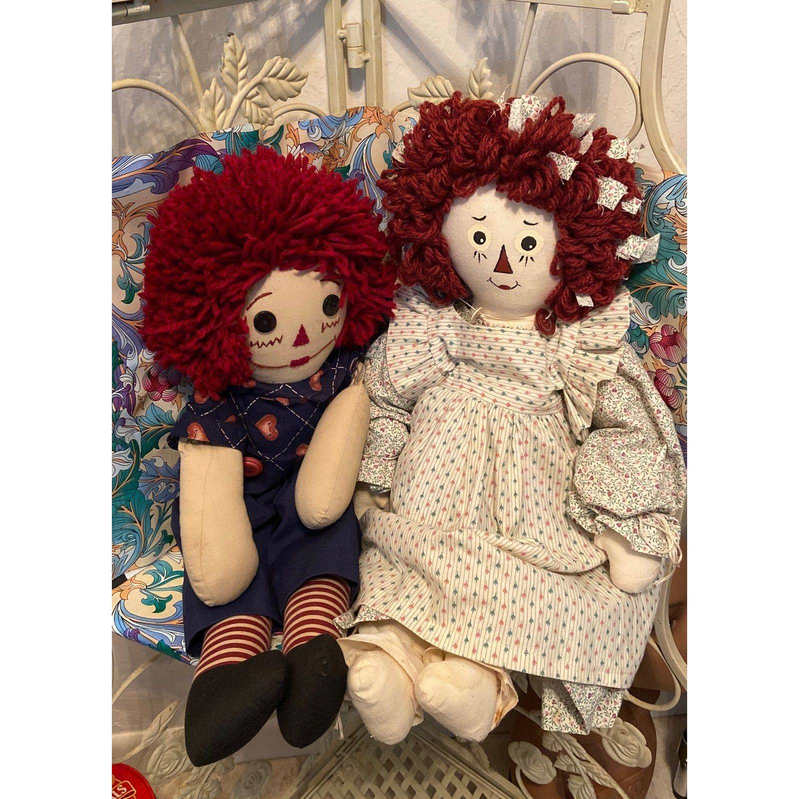 Handcrafted Raggedy Ann and Andy, 1995