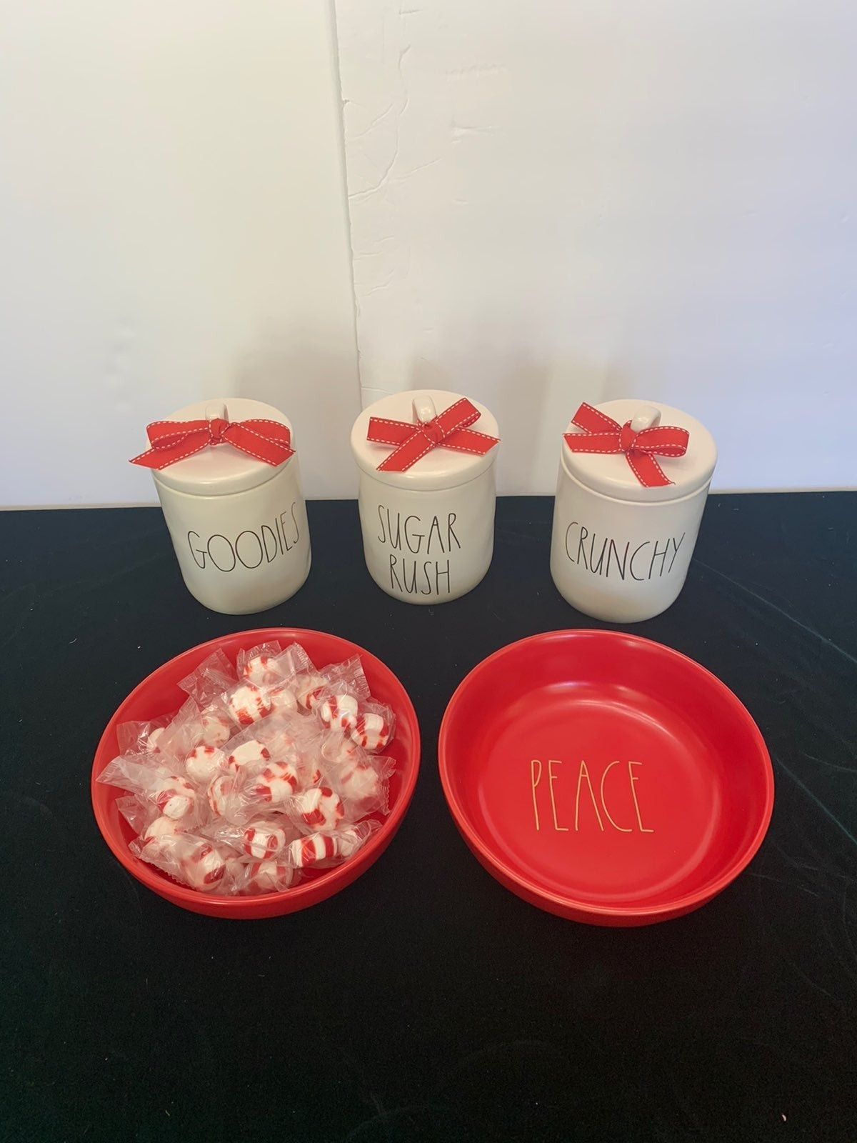 Rae Dunn Christmas Canisters & Candy Bow