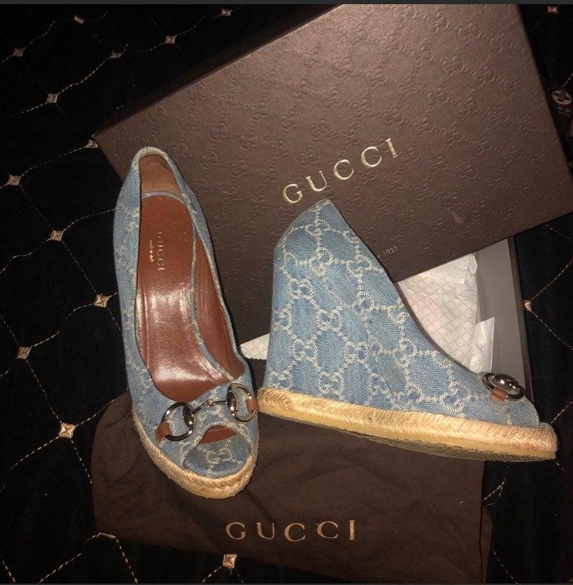 Aurhentic Gucci wedge denim shoes 36.5