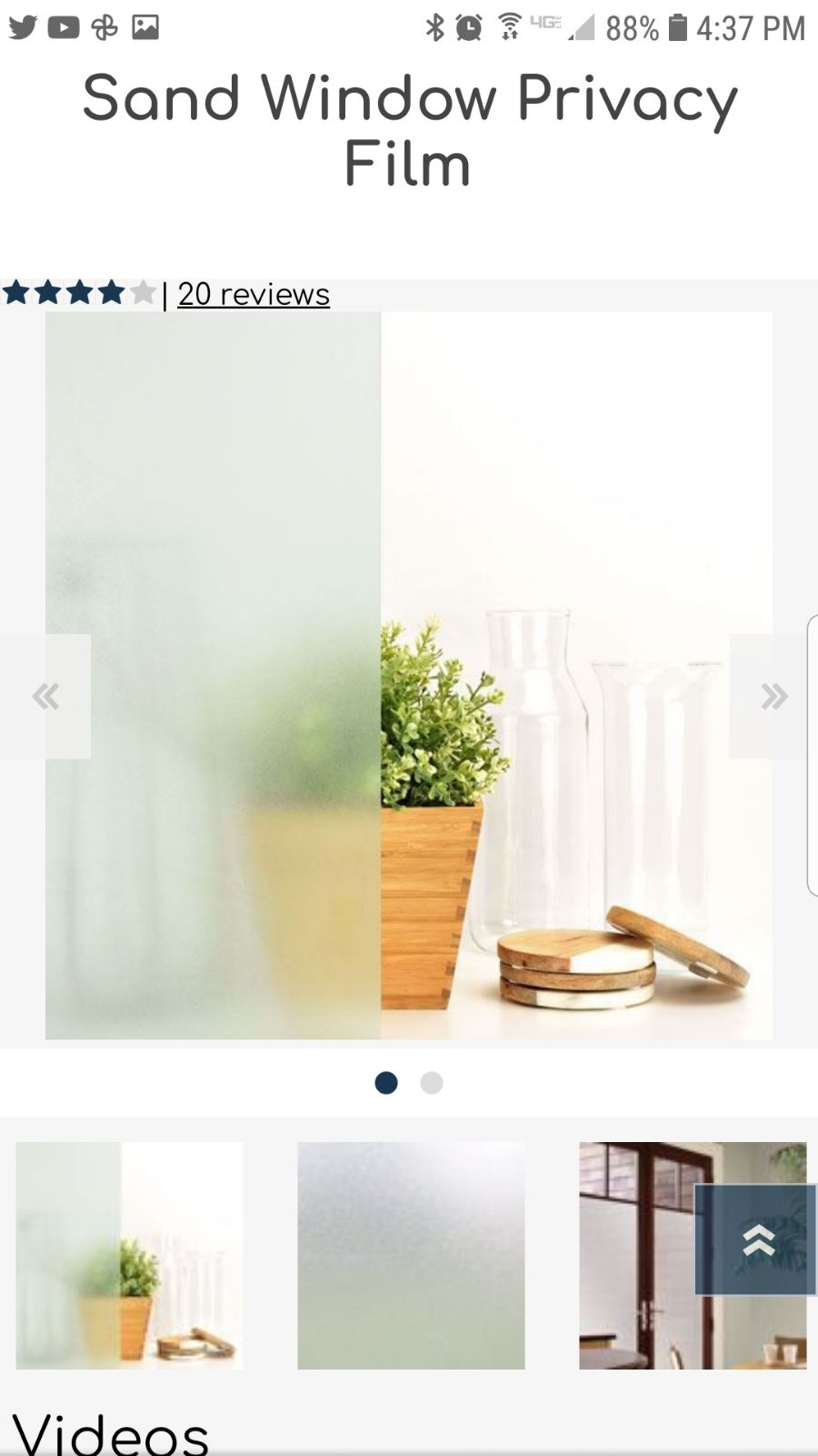 Glass Cling privacy film Sand