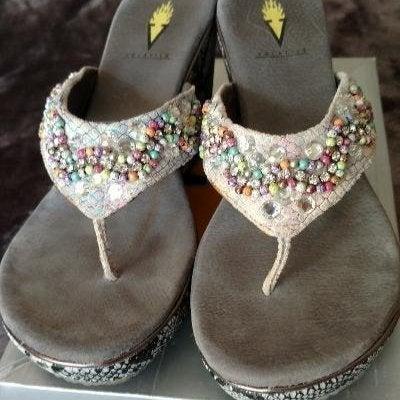 Volatile Gray Beaded Sandals