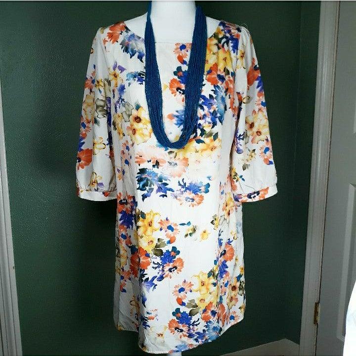 Pink Owl Floral Dress, 3/4 Length Sleeve