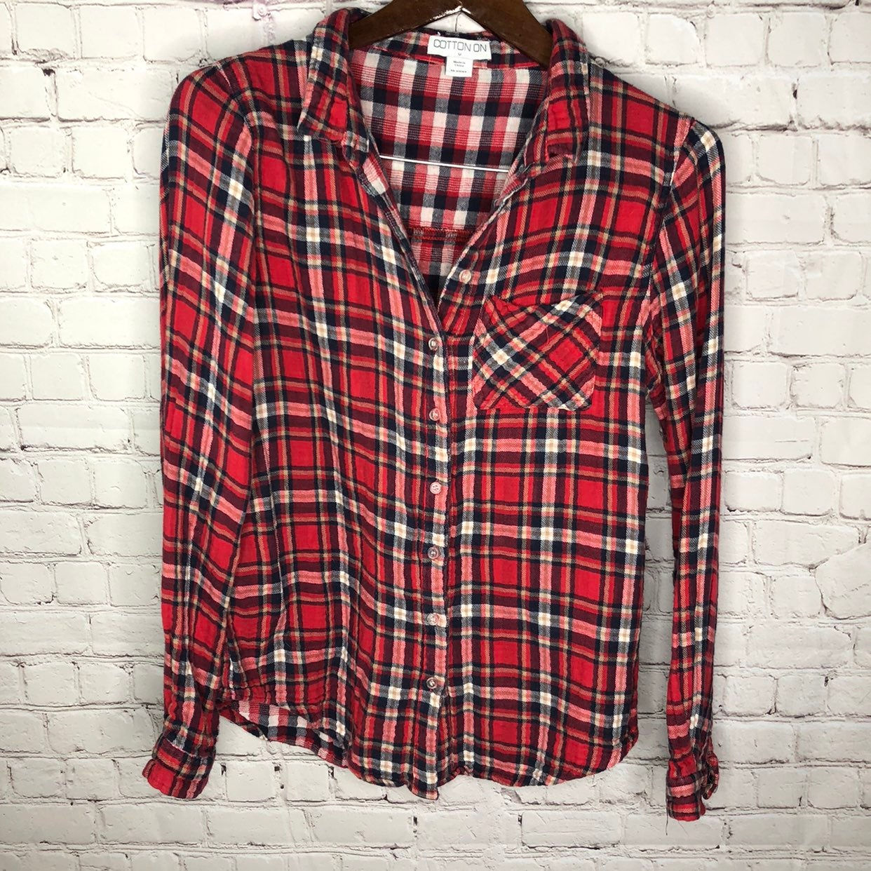 Cotton On Plaid Flannel Top