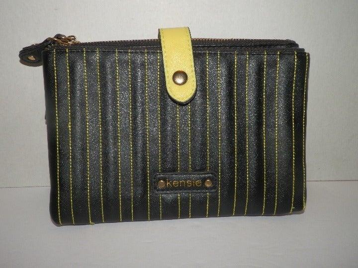 Kensie Black with Yellow Cosmetic Bag