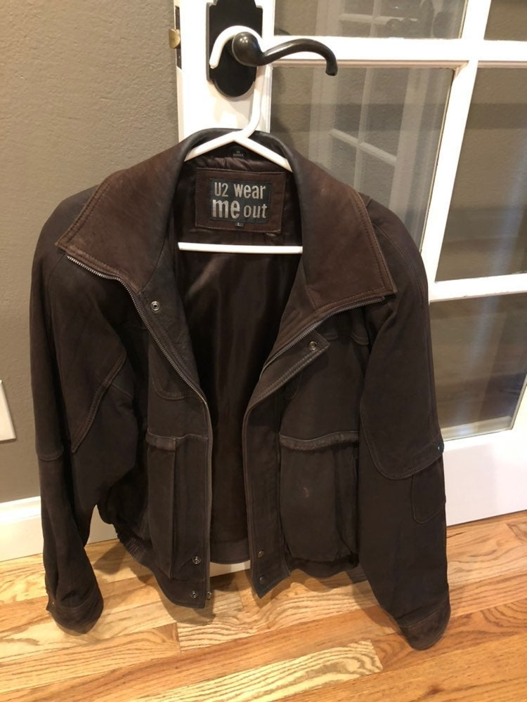 Mens suede heavy leather jacket