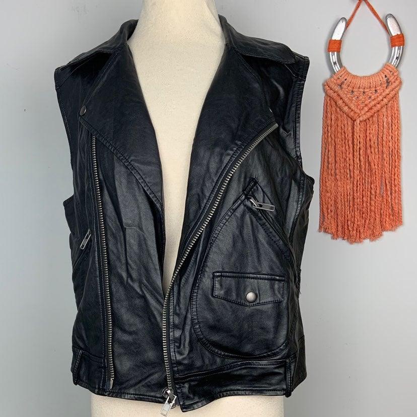 Olivaceous Vegan Leather Moto Vest