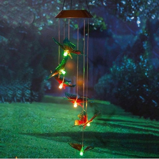 Solar Powered Mobiles Waterproof Automatic Light Wind Chimes Color Changing Sola