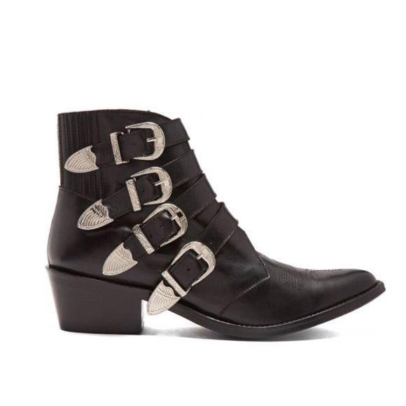 Tony Bianco Black Leather Western Boots