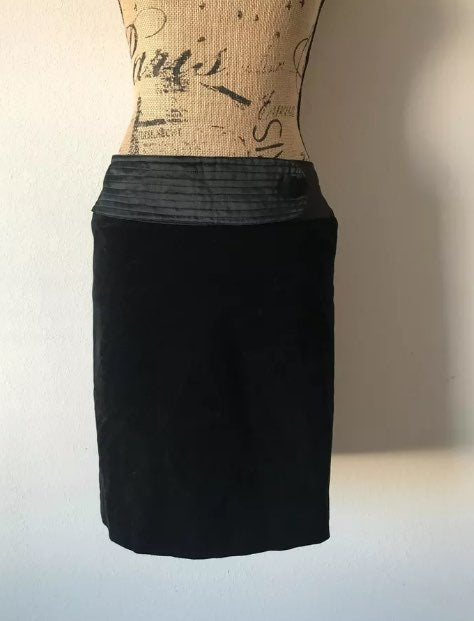 BEHNAZ SARAFPOUR VELVET PENCIL SKIRT
