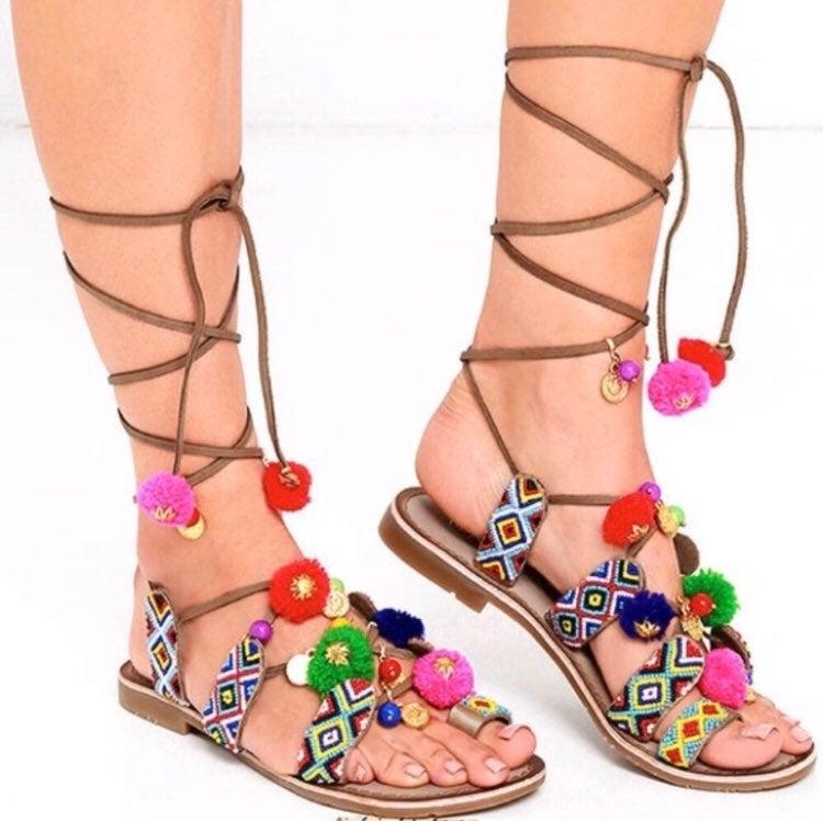 Francesca's Posh Pom Pom Colorful Sandal