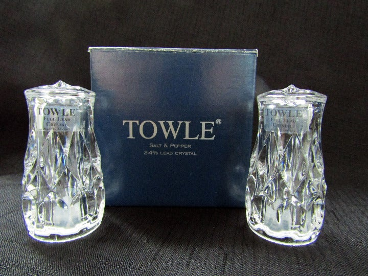 Towle Crystal Salt & Pepper Shakers New