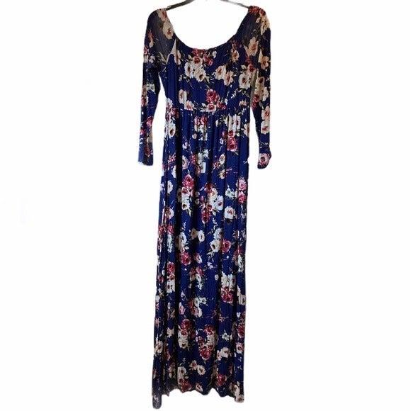 PinkBlush blue floral maternity maxi dress large