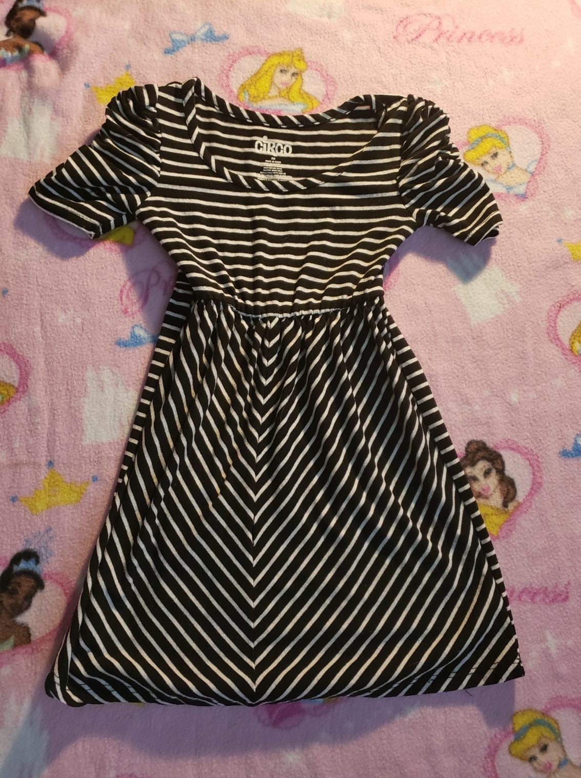 Girls black & white striped dress 4t