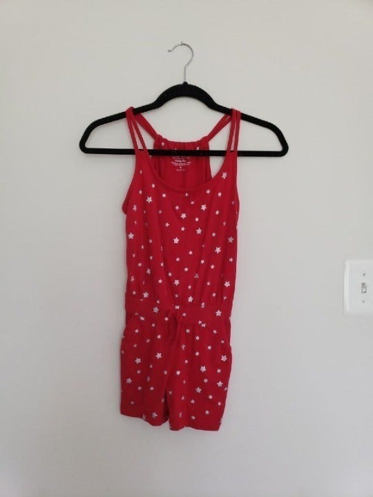 Faded Glory Red Star Romper with Tie 8