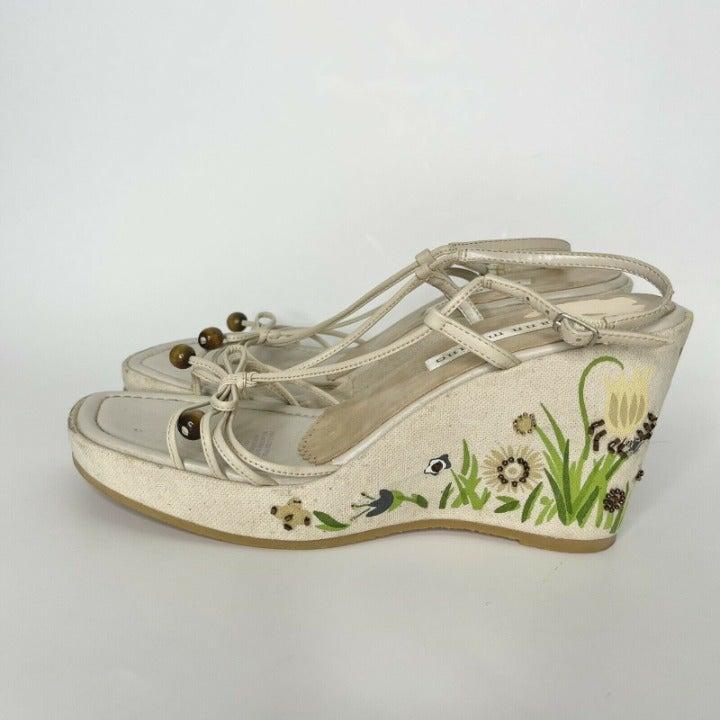 Ann Marino Cream Y2K Embellished Shoes