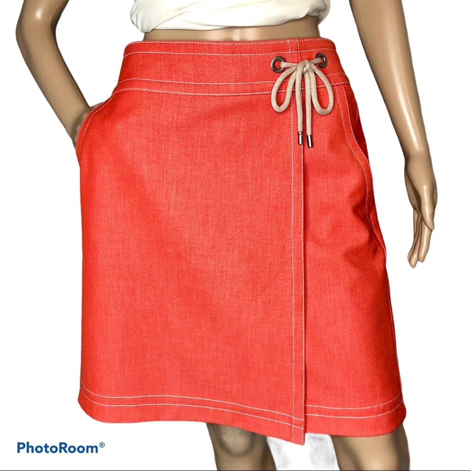 Ann Taylor orange faux wrap skirt size 4